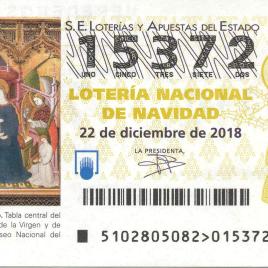 Billete de Lotería Nacional para el sorteo de 22 de diciembre de 2018