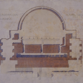 Proyecto de restauración del teatro antiguo de Taormina. Planta, seccion A y B.