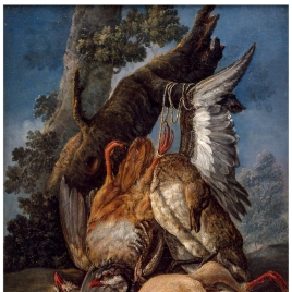 Bodegón de caza: perdiz, ánade y otras aves