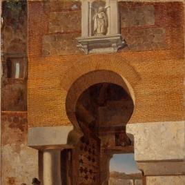 Puerta árabe de la plaza de armas en el puente de Alcántara de Toledo