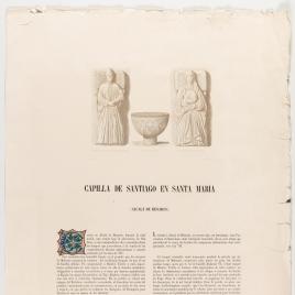 Página de texto sobre la capilla de Santiago de la iglesia de Santa María en Alcalá de Henares, ilustrada