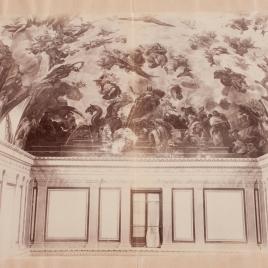 Detalle de la bóveda de Luca Giordano del Casón del Buen Retiro (grupo de la Majestad de España) tras el ciclón del 12 de mayo de 1886