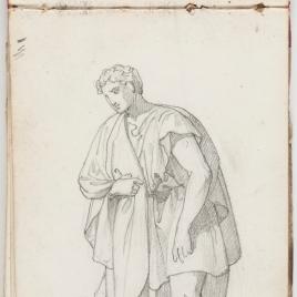Estudio de paños, figura masculina