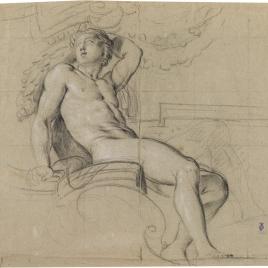 Estudio de desnudo masculino / Estudio de figura de joven con alas