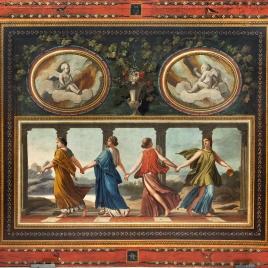 Cuatro ninfas o ménades como las Danzantes Borghese y dos amorcillos en óvalos