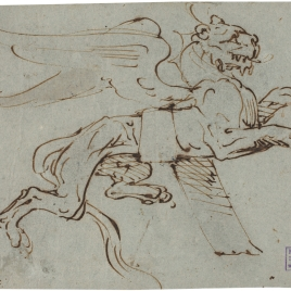 Design for ornament in the form of a winged lionness