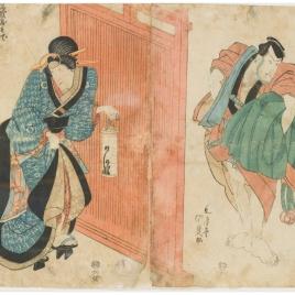 Escenas de teatro kabuki. Mujer con farolillo / Hombre con manto bajo el brazo