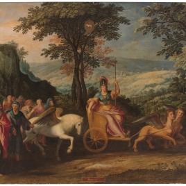 Alegoría del mes de Marzo con el triunfo de Minerva y el signo de Aries