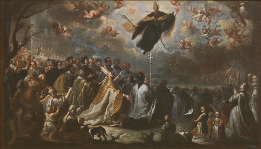 San Agustín conjurando una plaga de langosta