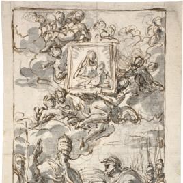 Un general ante un papa y, en gloria, una imagen de la Virgen