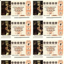 Capilla de billete de Lotería Nacional para el sorteo de 17 julio de 1993