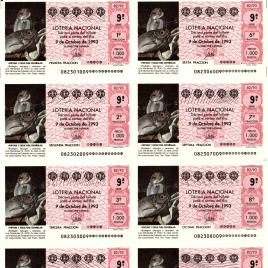Capilla de billete de Lotería Nacional para el sorteo de 9 de octubre de 1993