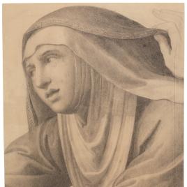 Virgen María, detalle de la pintura de Rafael Caída del camino del Calvario