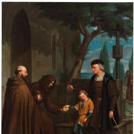 Colón en las puertas del convento de Santa María de la Rábida, pidiendo pan y agua para su hijo