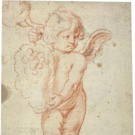 Ángel eucarístico sosteniendo un racimo de uvas