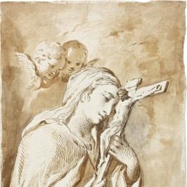 Santa monja abrazada al crucifijo