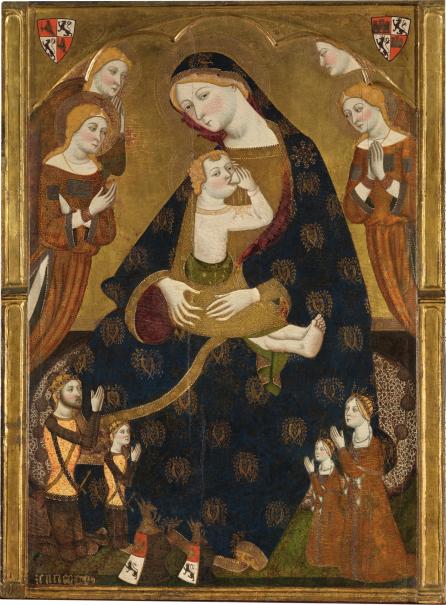 Virgen de Tobed con los donantes Enrique II de Castilla, su mujer, Juana Manuel, y dos de sus hijos, Juan y Juana(?) (reproducción fotográfica)
