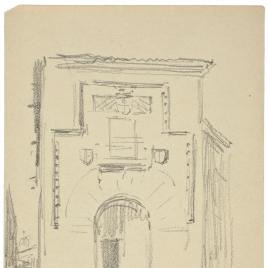 Apunte de la fachada de la Casa de doña María la Brava en Salamanca