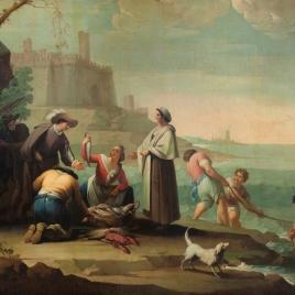 Tres marineros tirando la red y una mujer vendiendo pescado
