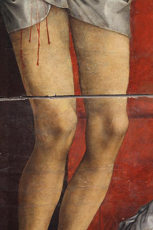 <p><em>Fig.10</em>. Detalle de los desgastes y los repintes alterados en el cuerpo de Cristo</p>