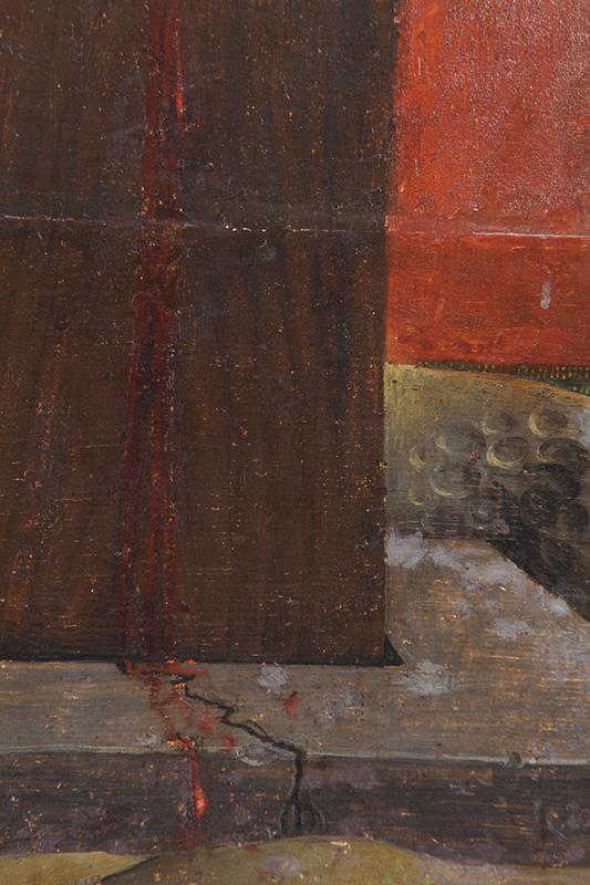 Fig.7. Detalle de los repintes alterados en la madera de la cruz