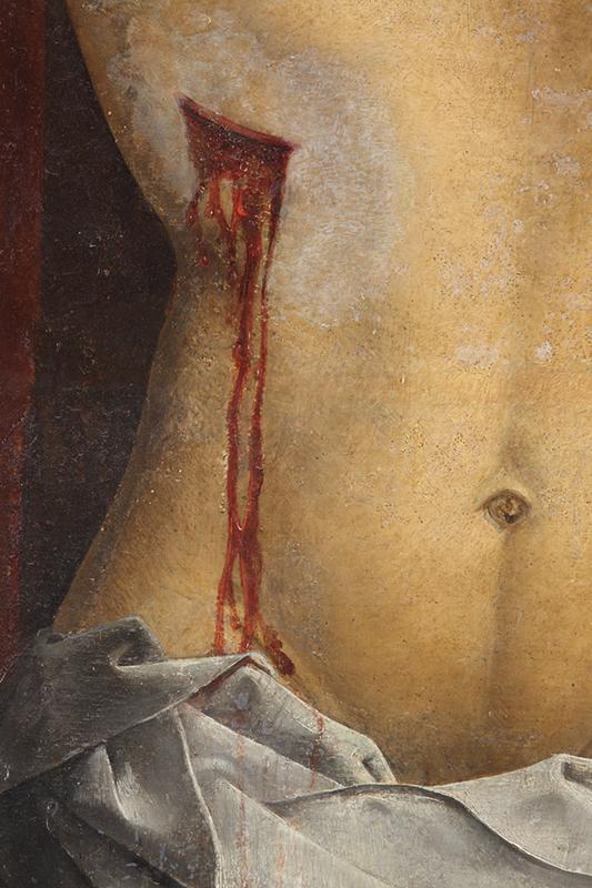 Fig.9. Detalle de los desgastes y los repintes alterados en el cuerpo de Cristo
