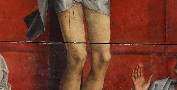 Fig.3. Apertura entre los paneles sexto y séptimo visible en la película pictórica