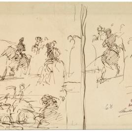 Episodio de la batalla de Tetuán / Apunte de composición histórica (Doña Blanca de Navarra). Grupo de soldados disparando. Un jinete