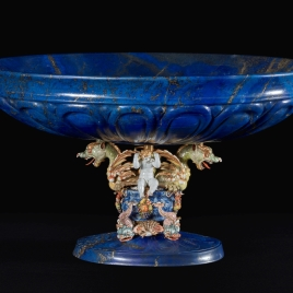 Lapis lazuli goblet with enamelled dragons and boy