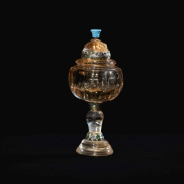 Citrine quartz cup with a turquoise on the finial
