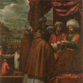 San Juan de Mata entrega las cartas del Papa al rey de Marruecos en la primera redención