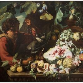 Bodegón (Hombre con mono y frutas)