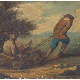 Hombre mutilado en un carrito