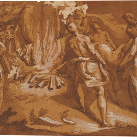 Design for a compartment: four figures bringing a deer to sacrifice on a fire on which a bull is burning