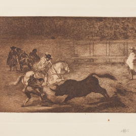 Un caballero en plaza quebrando un rejoncillo con ayuda de un chulo