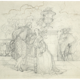 Escena cortesana con Felipe IV en un jardín