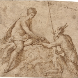 Satyr with a Fishing-rod Handing a Fish to a Nymph