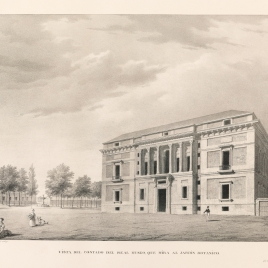 Vista de la fachada del Real Museo desde el Jardín Botánico