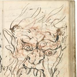 Mascarón de fuente, sobrepuesto a Aníbal vencedor, que por primera vez mira Italia desde los Alpes (estudio preparatorio)