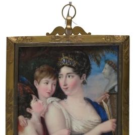 Josefa Tudó con sus hijos Manuel y Luis Godoy