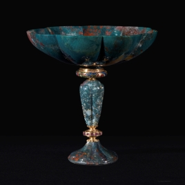 Fluted goblet with a tall stem and rubies