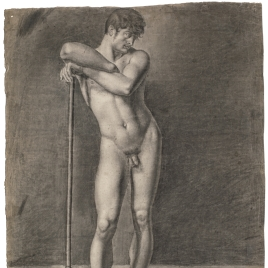 Desnudo masculino apoyado en un gancho / Apunte de desnudo masculino