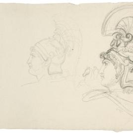 Dos cabezas de guerrero romano con casco