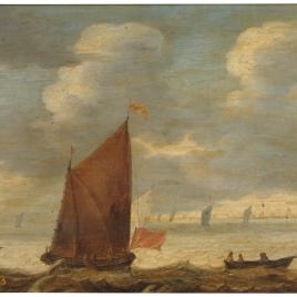 Velero y barca de pescadores frente a la costa