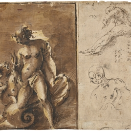 Venus y Cupido y otros estudios y notas / Cuatro estudios de las proporciones de la cabeza humana