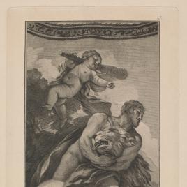 Hércules sofoca al león de la selva Nemea