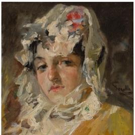 Cabeza de mujer con mantilla blanca