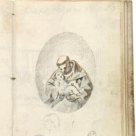San Antonio de Padua con el Niño Jesús. Tres cabezas de perfil y figura masturbándose