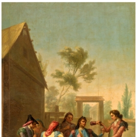 Several Men Playing Cards in the Country