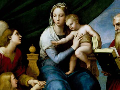 <em>Sagrada Familia con Rafael, Tobías y San Jerónimo</em> o <em>Virgen del pez</em>, Rafael, comentada por Gustavo Torner